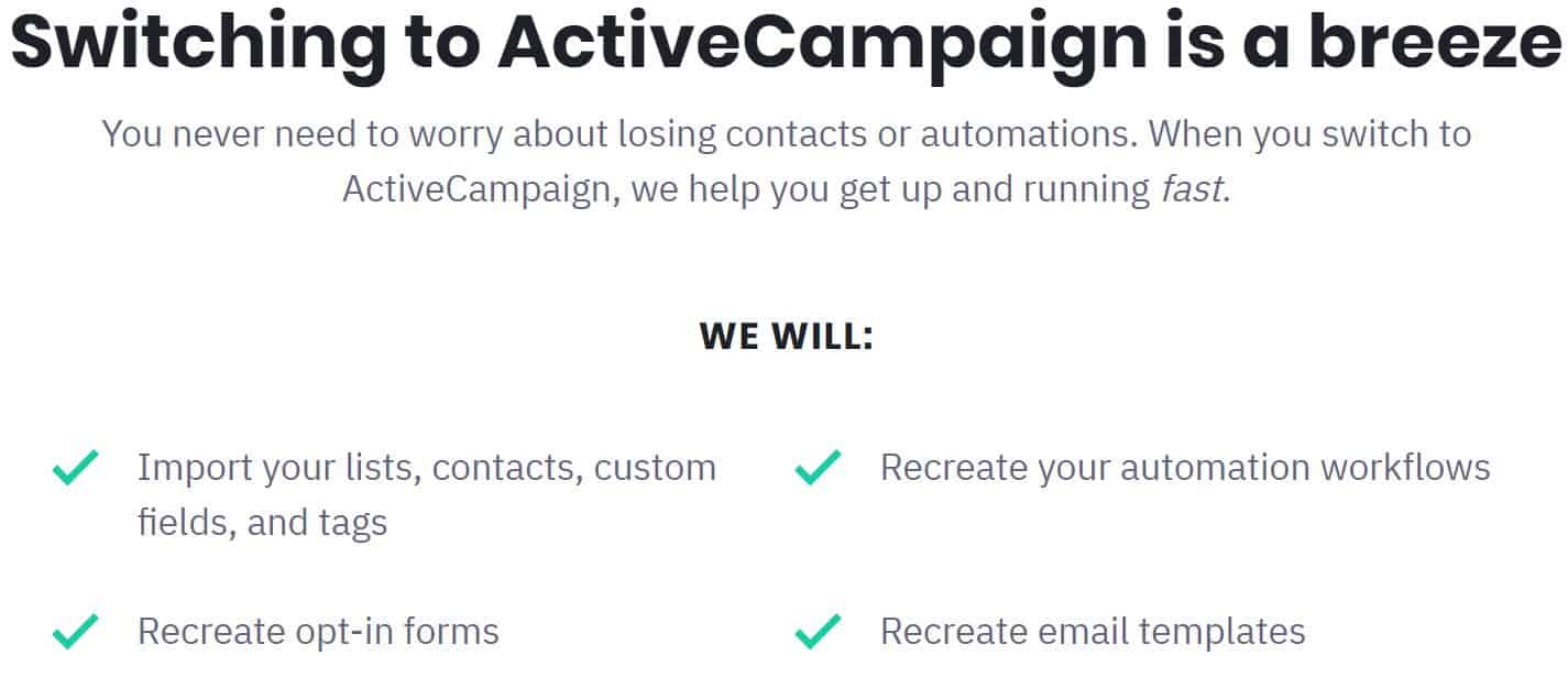 Free Migration when Switching to ActiveCampaign