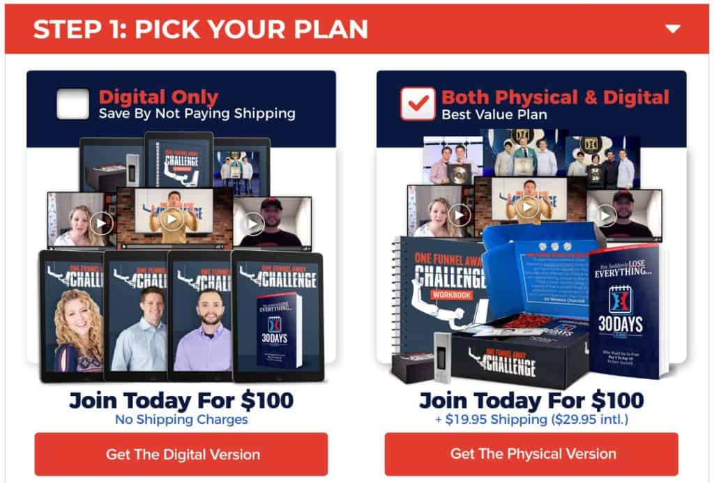 One Funnel Away Challenge Price Options