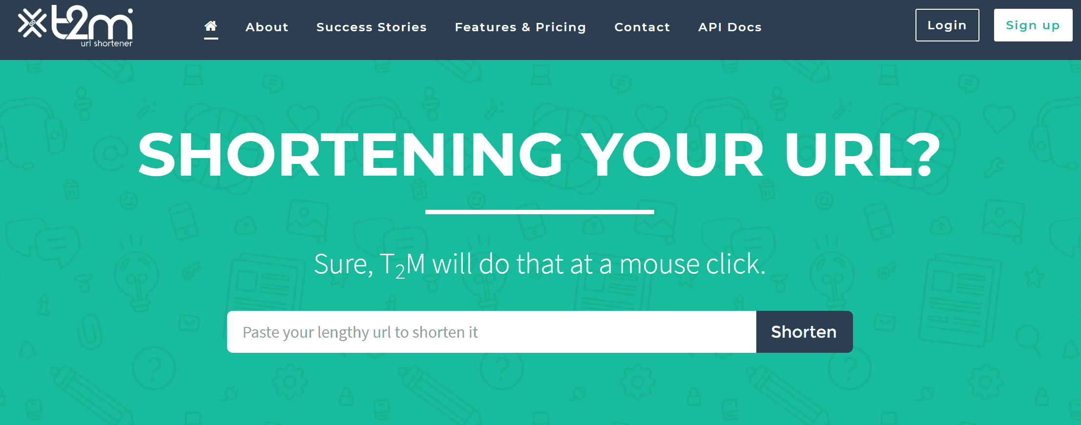 T2M URL Shortener Home Page