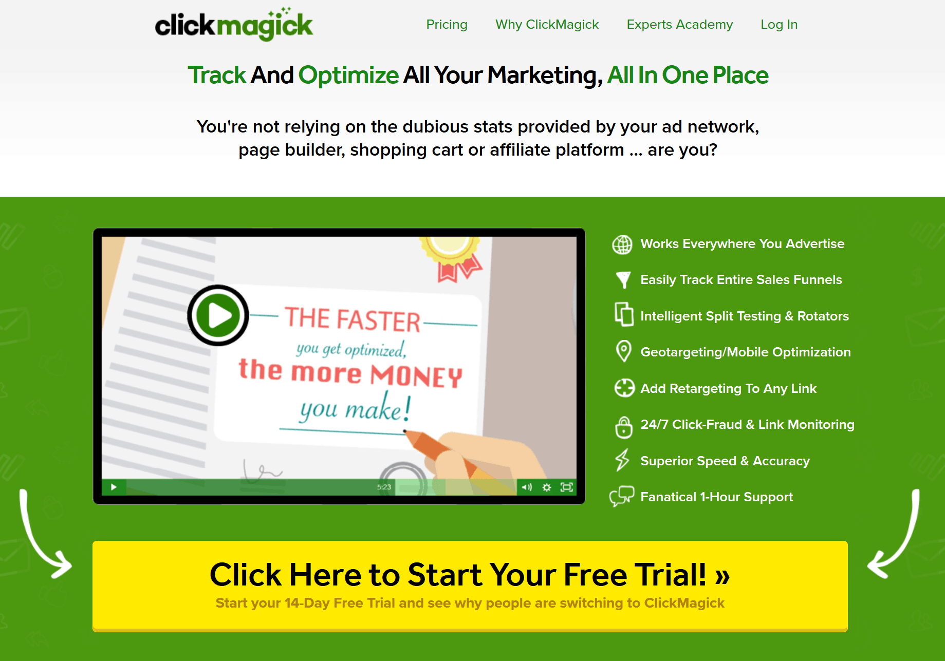 ClickMagick Paid Link Tracker Home Page