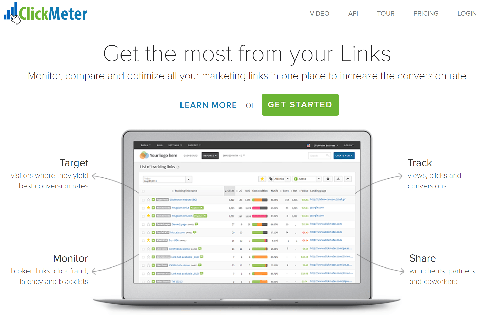 ClickMeter Link Tracker Home Page