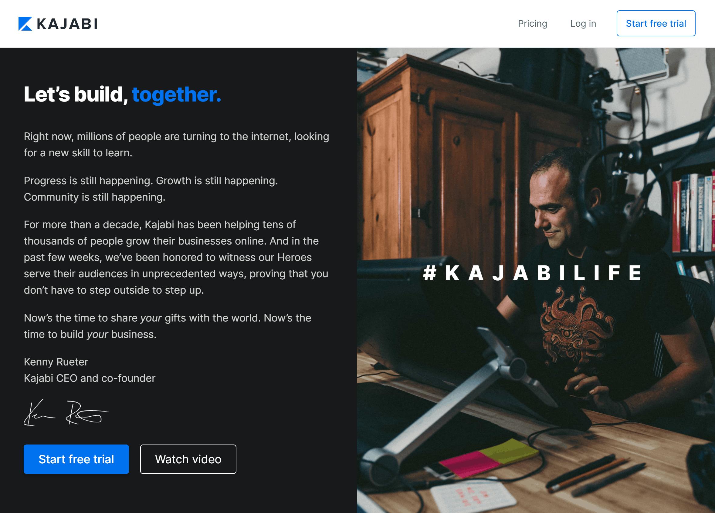 Kajabi Home Page