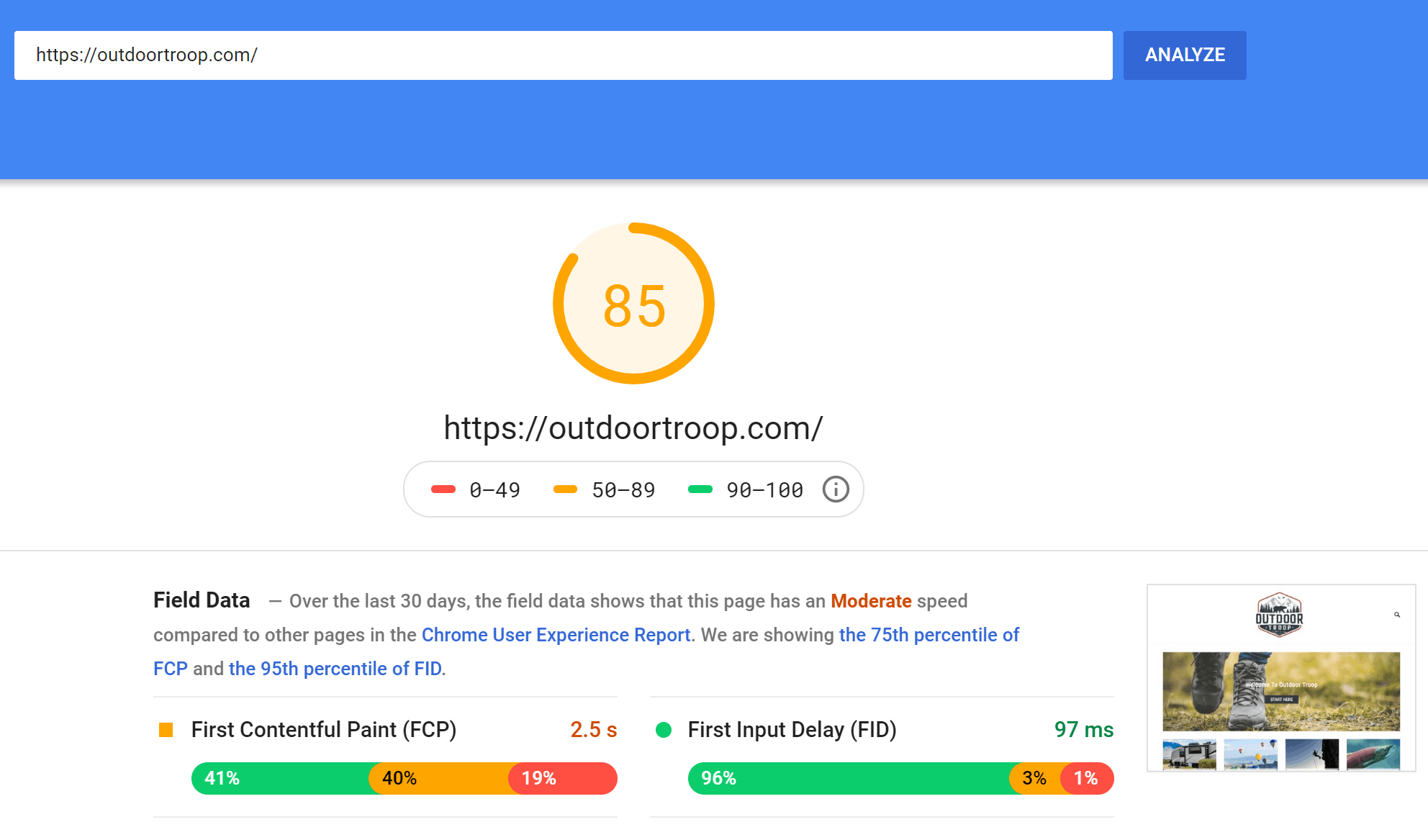 Outdoor Troop Pagespeed Insights